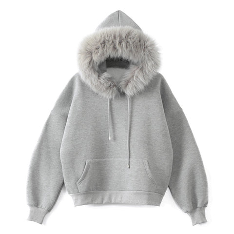 Thicken Fleece Solid Long Sleeve faux fur Hoodies