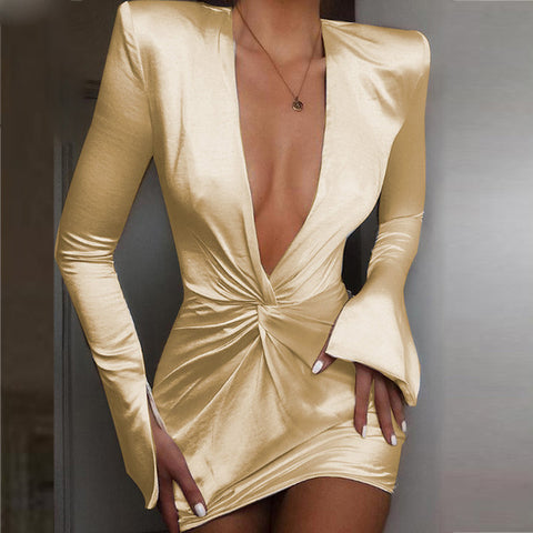 Sexy Satin Deep V neck Ruched Club Elegant Long Sleeve Party Dresses