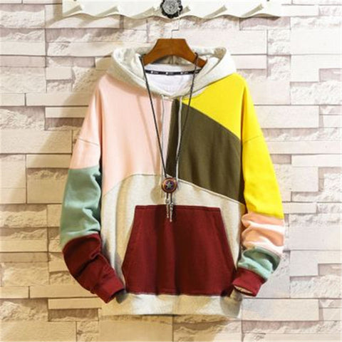 Skateboard thin cotton pink yellow Patchwork Hip Hop Hoodies