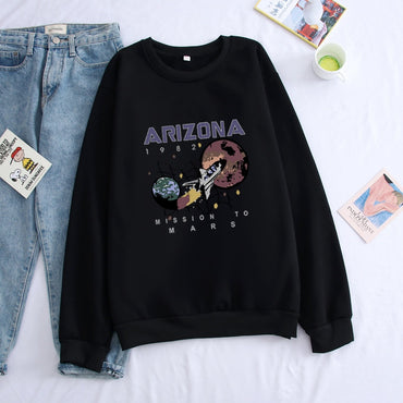 Fleece Nostalgia Old Planet Printed Spaceship Arizona Space Black Sweatshirt