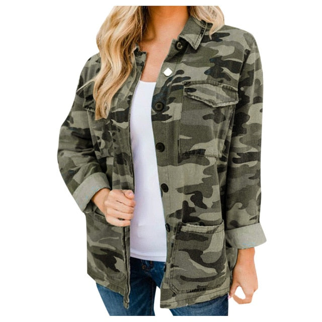 Camouflage Military Button Casual Jacket