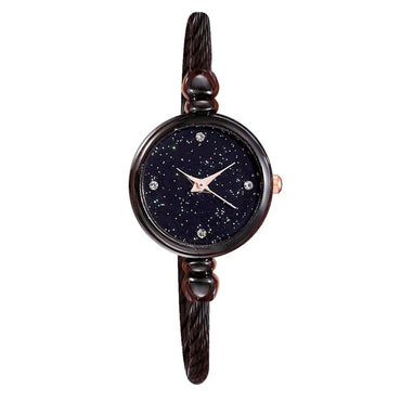 Simple Star Inlaid Rhinestone Stainless Steel Watch