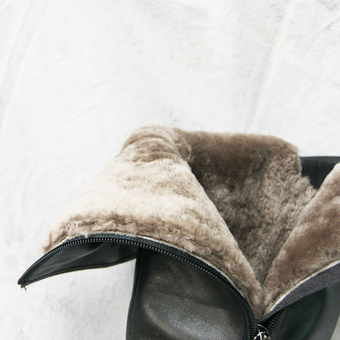 real wool fur lined genuine leather high boots