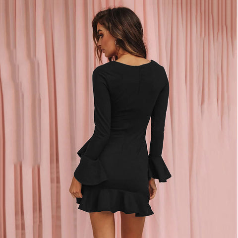 Butterfly Sleeve Solid O Neck Casual Loose Ruffle Black Dress