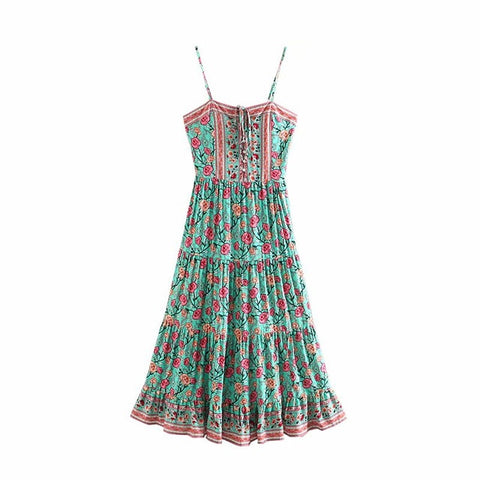 Vintage chic rose floral print sleeveless beach long maxi Bohemian dress