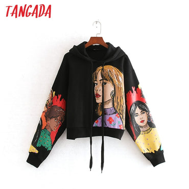 character print black long sleeve O neck loose pullovers casual Hoodies