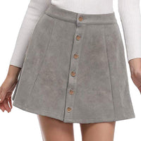 casual deer suede button skirt