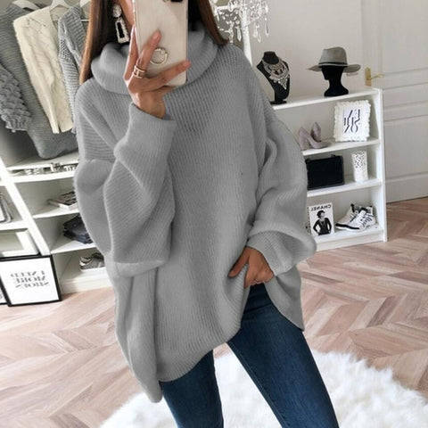 Casual Loose Turtleneck Knitted Pullovers Oversize Solid Sweater