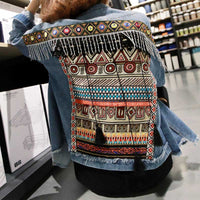 Denim Beading Tassel Tribal Embroidery Vintage Bohemian Jackets Coats
