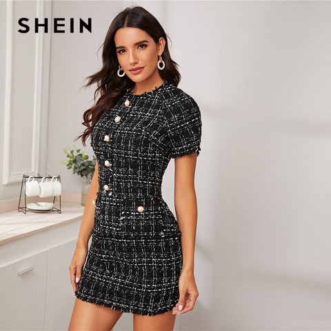 Plaid Button Front Frayed Edge Form Fitted Elegant Office Dresses