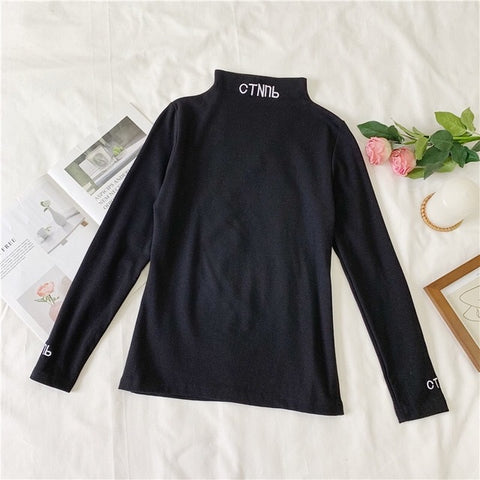 Printed Letter Long Sleeve Turtleneck Solid T Shirt