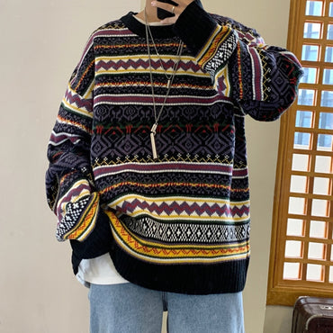 Retro Casual O-neck Knit Pullover Knitting Sweaters