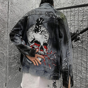 Skull Retro Rock vintage Gray Denim jacket