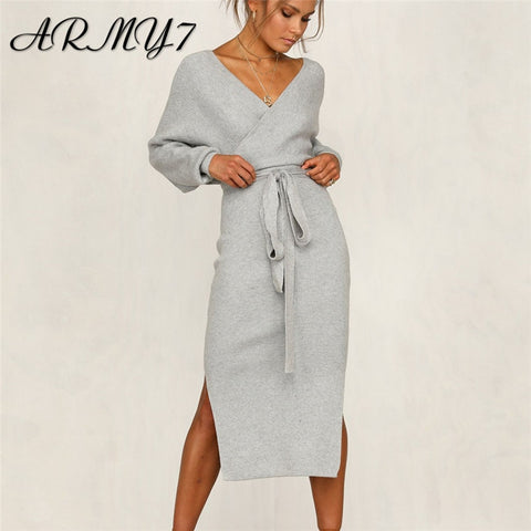 Elegant Knitted With Belt Long Sleeve V Neck Maxi Dress