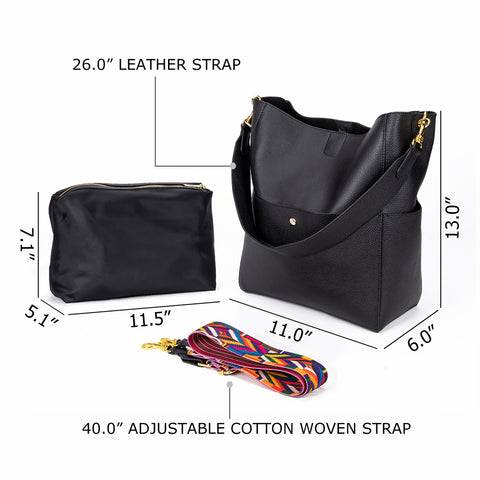 Top Layer Cow Leather Bucket Genuine Soft Leather Handbags