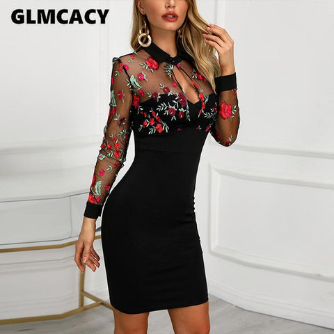 Sheer Mesh Floral Embroidery Lace Mesh Floral Dresses
