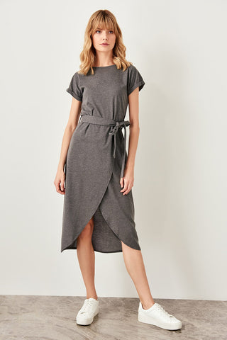 Anthracite Lacing Knit Wrap Dresses