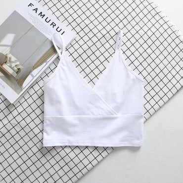 Women Cotton Blend Crossover V-neck Crop Tank Top