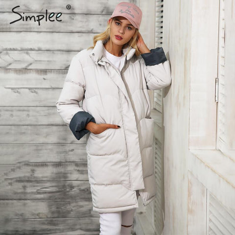Cotton padded black parka zipper pocket casual coat