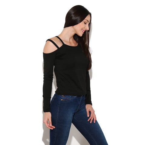Long Sleeve O Neck Off The Shoulder T Shirt