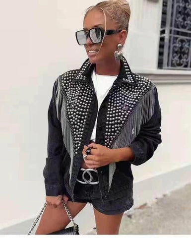 metal stud streetwear Denim Jackets