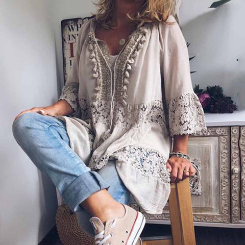 Casual Chic Cotton Lace Hollow Bohemian Blouse Shirts