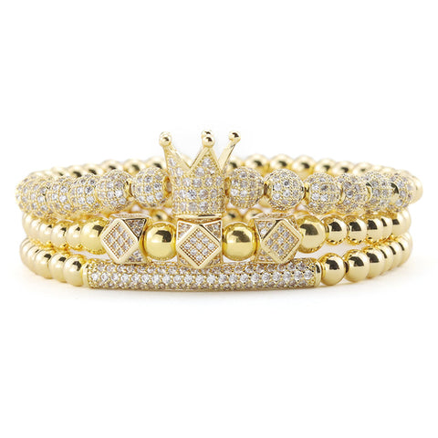 Luxury Gold beads Royal King Crown Dice Charm CZ Ball bracelets & bangles