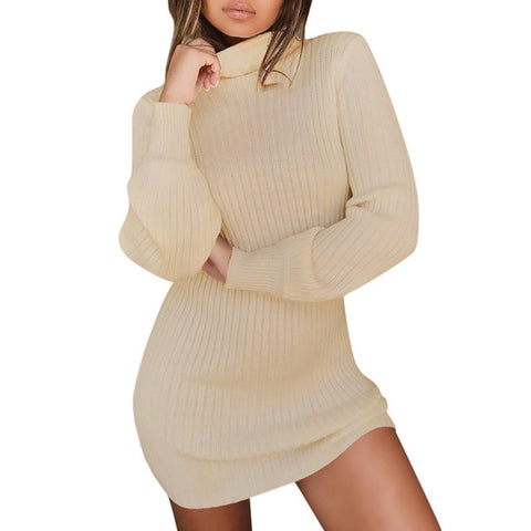 Knitted Turtleneck Casual Long Sleeve Sweater dress