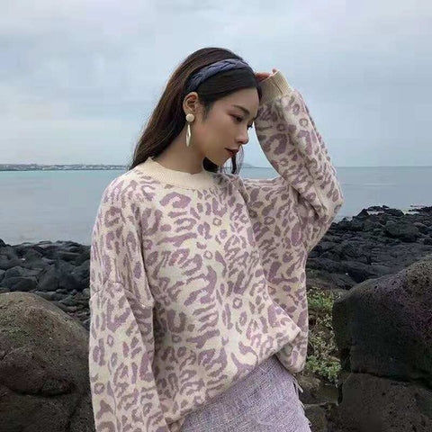 turtleneck leopard knitted animal print sweater