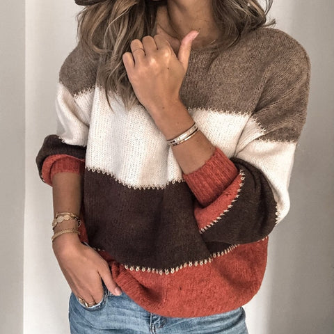 Casual Patchwork O neck Long Sleeve Knitted Sweater