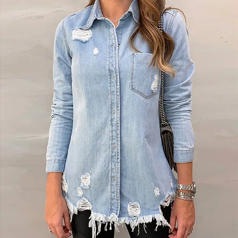Casual Long Sleeve Lapel Tops Pocket Single Breasted Denim Jackets