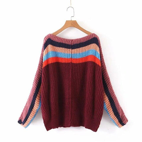 long sleeve Rainbow stripes Boho Bohemian Sweaters