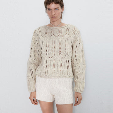 long sleeve pullover Casual O-Neck crocheted knit Boho Bohemian Sweaters