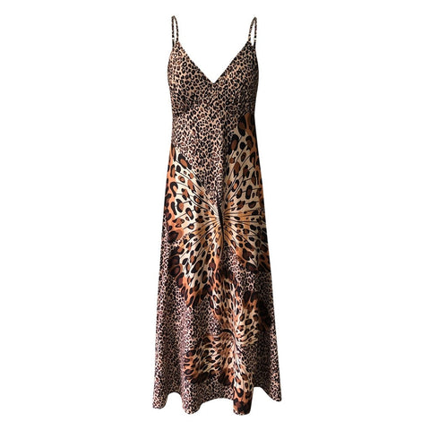 Sexy Party Backless Leopard Butterfly Print V Neck Sleeveless Wrap Bodycon Print Dress