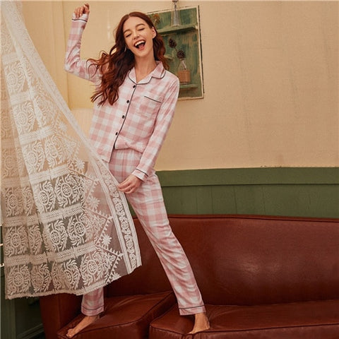 Pink Notched Collar Plaid Print Button Front Casual Pocket Side Sleepwear