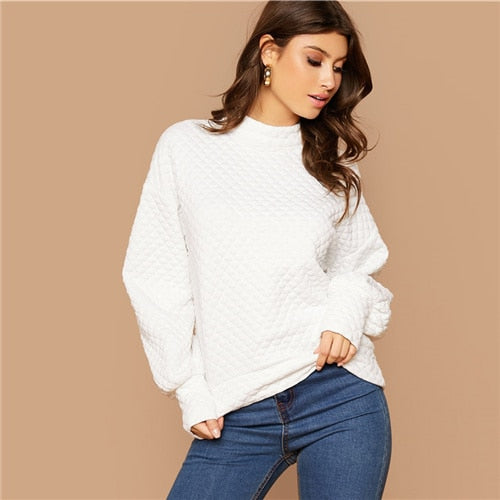 White Button Back Lantern Sleeve Textured Pullover Sweatshirts