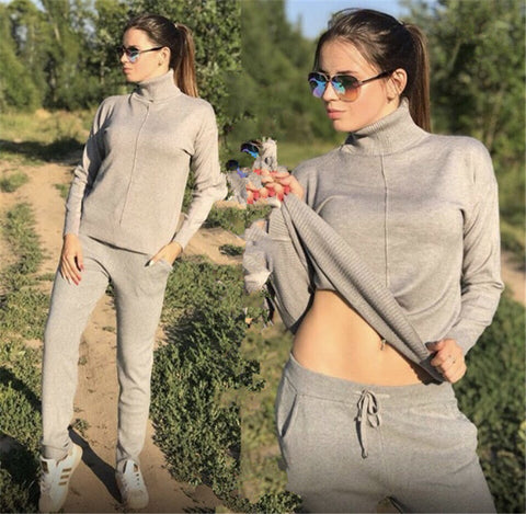 Knitted Turtleneck Long Sleeve Sweatshirts