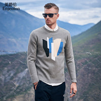 Patchwork O-Neck Pullovers Slim Fit Knitted Pull Sweaters