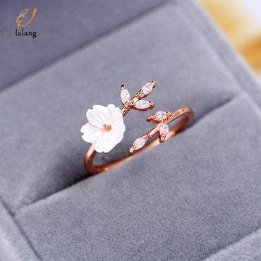 Adjustable Crystal Leaf Shell Flower Rings