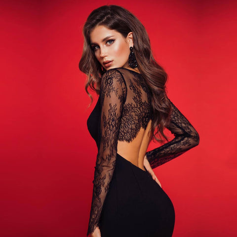 Lace Long Sleeve Bandage Sexy Hollow Out Black Sexy Dresses