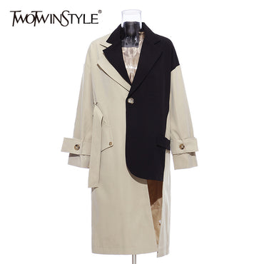 Patchwork Hit Color Windbreakers Lapel Collar Long Sleeve Trench Coats