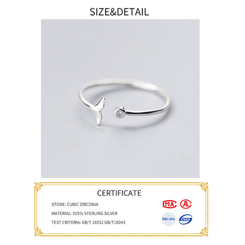 Sterling Silver Zircon Fish Tail Ring
