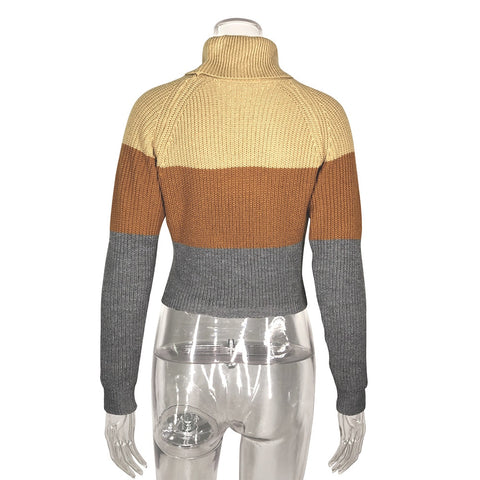 Turtleneck Knitted Long Sleeve Jumper Patchwork Sweaters