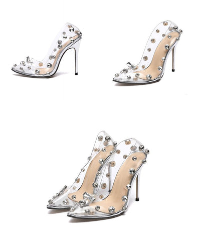 Rivet Crystal Pumps PVC Transparent Sexy High Heels