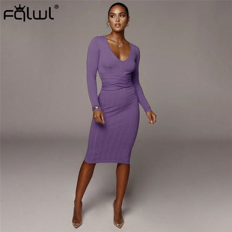 Ribbed Knitted Midi Sexy Pencil Elegant Wrap Dresses