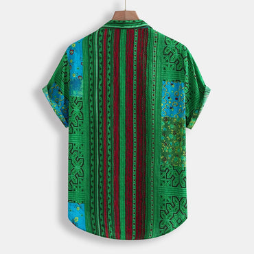 Vintage Ethnic Printed Turn Down Collar Short Sleeve Shirt