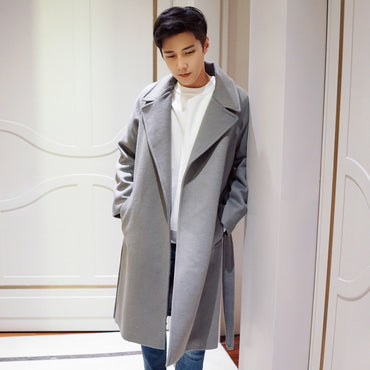 Long Wool Solid Blends Casual Loose Trench Coats
