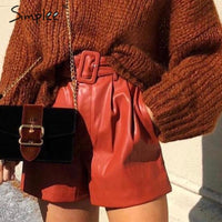 Pu leather faux leather shorts