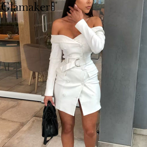 Sexy white belt blazer off shoulder dress