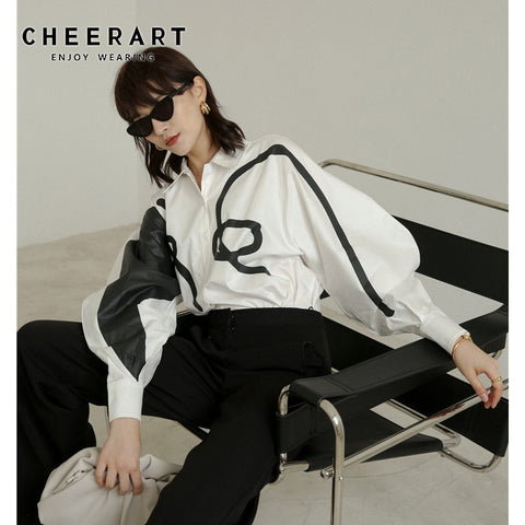 Graffiti White Long Sleeve Shirt Lantern Sleeve Loose Shirt Blouse